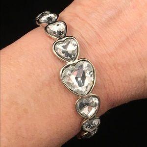 Jewelry - Crystal Hearts Silver Bracelet